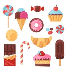 Set colorful various candy sweets and cakes vector