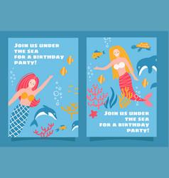 set mermaid sea theme party invitation design vector image