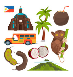 Set of colored symbols of philippines vector
