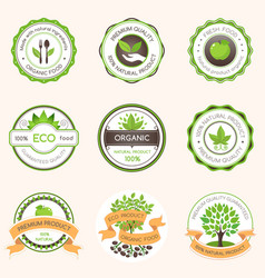 set of green label organic food vector image