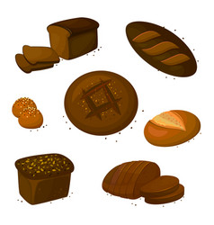 Set rye dark read icons vector