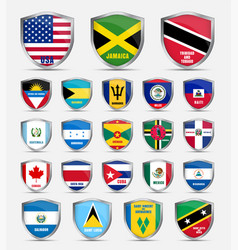 Shields with flags countries north vector