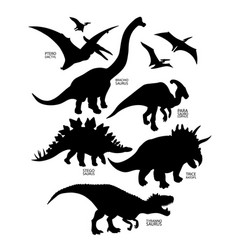 Silhouettes of dinosaur vector