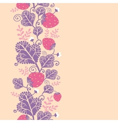 Strawberries vertical seamless pattern background vector image