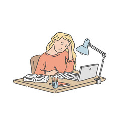 Stressed student girl sitting at table with laptop vector