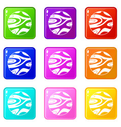 Striped planet icons 9 set vector