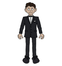 the funny man in a black snit vector image