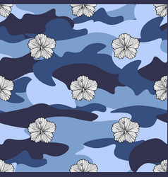 Tropic flowers on the camouflage background vector