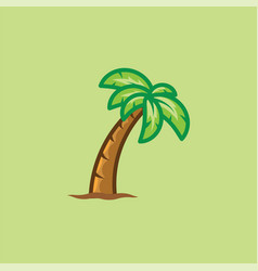 Tropical palm tree isolated on green background vector