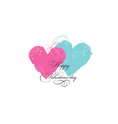 valentines day greeting card with love hearts and vector image