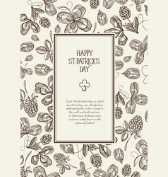 vintage st patricks day floral template vector image
