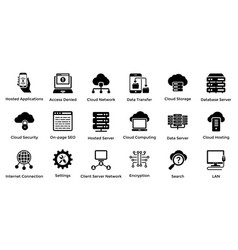 web hosting glyph icon designs 6 vector image