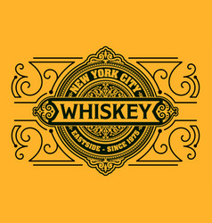 Western design whiskey label vector