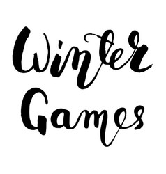 Winter games black lettering text vector