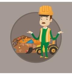 Worker and bulldozer at landfill vector