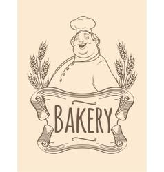 Chef baker label unicolorous vector