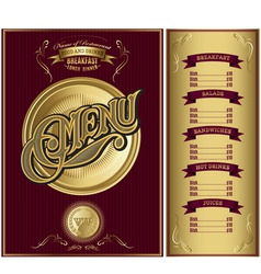 gold template for the cover of the menu vector image vector image