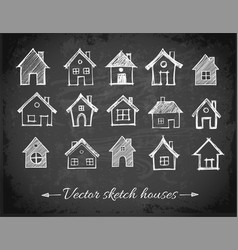 sketch of houses on blackboard background vector image