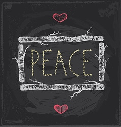 Vintage Christmas Peace Chalkboard Hand Drawn Set vector image