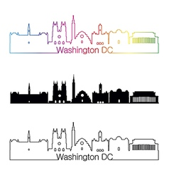 Washington DC V2 skyline linear style with rainbow vector image vector image