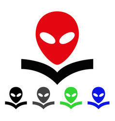 alien knowledge book flat icon vector image vector image