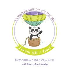 Baby Shower Card - Baby Panda and Air balloon vector image