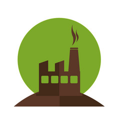 color silhouette with factory and smoke vector image