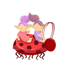 cute troll girl characters riding on ladybug vector image