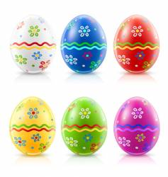 Easter eggs with traditional ornament vector image vector image