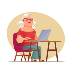 elderly woman character chatting network vector image vector image