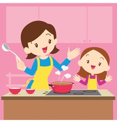 mom and daughter cooking vector image