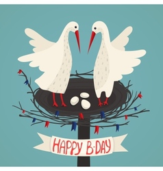 Parents Storks and Eggs in Nest Birthday Card vector image
