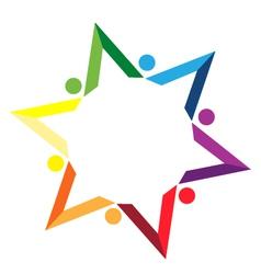 Teamwork color books star logo vector image