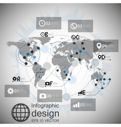 World map infographic design for communication vector image