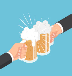 isometric two businessman hands clinking beer mug vector image