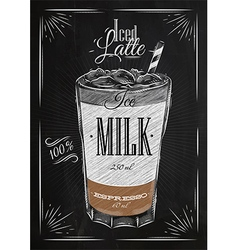 Poster iced latte chalk vector image vector image