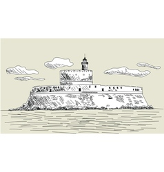 Rhodes ancient fort vector image vector image