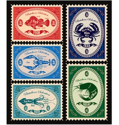 set of postage stamps with seafood vector image