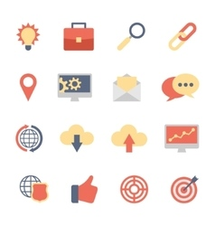 Set of SEO and Development flat icons vector image vector image