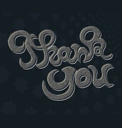 thank you hand lettering greeting card vector image