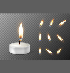 3d burning realistic candle light or tea vector
