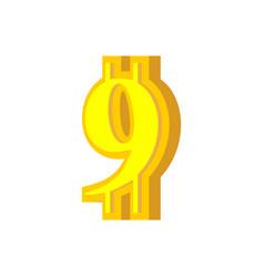 9 numeral bitcoin font nine numeric crypto vector image