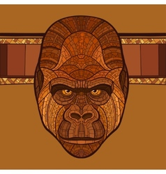 Ape gorilla head with ethnic ornament vector
