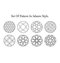arabic black round east ornament set symbols vector image