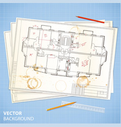 Architectural papers with sketches and pencils vector