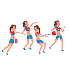 Athletics female player playing in vector