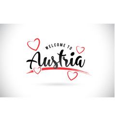 Austria welcome to word text with handwritten vector