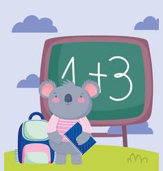 back to school koala backpack and book chalkboard vector image