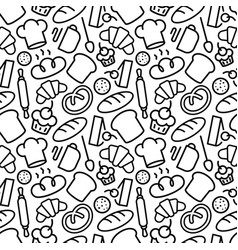 bakery pattern with food and baking accessories vector image