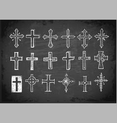 big set doodle sketch crosses on blackboard vector image